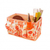 TRENDINAO 2017 New Orange Makeup Cosmetic Foldable stationery Container Holder Bag Box