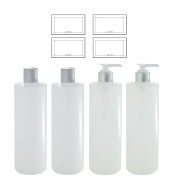 Clear Natural Refillable Plastic Squeeze Bottles with Silver Lotion Pumps and Disc Caps - 470ml each (4 Pack - 2 of Each) + Labels