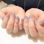 YUNAI Medium False Nails Oval Fake Nail Smooth Light Grey Purple and Nude Graduated colour