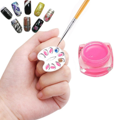 Alonea Mini Finger Nail Art Mixing Palette For Free Hand Manicure Ring Nail Tools Metal (Silver)