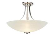 Hilton 3 Light Satin Chrome and Glass Semi Flush Ceiling Light Fitting