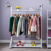 Tribesigns Heavy Duty 1.2m Clothes Garment Rail Hanging Rack Shoe Storage Shop display stand with 2 Tier Storage Shelves, Metal