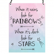 When It Rains Look For Rainbows When It's Dark Look For Stars Inspirational Quote Wall Metal SMALL PLAQUE SIGN Retro 7.5 x 10cm