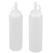 sourcingmap® Plastic Kitchen Sauce Vinegar Condiment Storage Squeeze Bottle 200ml 2pcs White