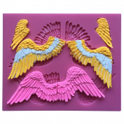 MOLLYSKY Big Angel Wings Chocolate 3D Silicone Mould Cake Polymer Clay Tools,Pink