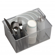 Finnhomy Utensil Mesh Caddy for Silverware, Napkin and Condiment Organiser Ideal Multi-Functional Steel Mesh Caddy for Kitchen, Dining, Picnics, Camper, Entertaining, and More, Sliver