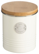 Typhoon Living Carbon Steel Sugar Canister with Bamboo Lid, 33-3/4-Fluid Ounces, Cream