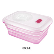 Partita Silicone Food Storage Container,660ml Leakproof Collapsible Hot Food Lunch Bento Container,PBA Free Take Out Food Container for Diet Food,Baby Food,Freezer to Microwave Oven Safe Pink