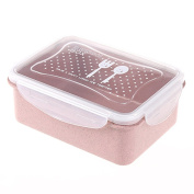 Ospard Wheat Stalk And PP Plastic Food Container Lunch box BPA Free Microwavable Dishwasher Safe 890ml FH17-005 Pink