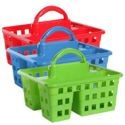 Divided 3-Compartment Plastic Tote Caddies Baskets, Red, Blue and Lime Green. 3-ct Set