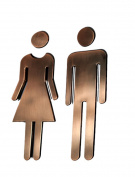 Black Menba® 20cm Adhesive Acrylic Toilet Symbol Men's and Women's Bathroon Sign