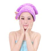 FakeFace Cute Bowknot Ultra Absorbent Shower Bath Spa Cap Hair Drying Dry Towel Wrap Cap Turban - Purple
