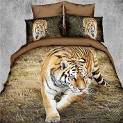 3d Bedding Set - Best Popular 4pieces Tiger Printed Duvet Cover, Pillow Case and Sheet - Super Soft, Comfortable and Machine Washable(comforter Not Included)、