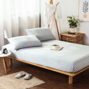 Vougemarket 100% Soft Cotton Fitted Sheet with 38cm Deep Pocket (without pillow caes),Ultra Soft & Breathable-King,Stripe