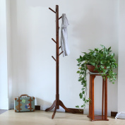 LCH Sturdy Standing Coat Rack Solid Rubber Wood Hall Tree Coat Tree with Tripod Base, 8 Hooks