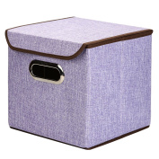 """XHSP Slap-up Durable Non-woven Fabric Containing Box,Home Storage Cubes Foldable Box Containers Drawers,10""""x10""""10"""",35L Purple"""