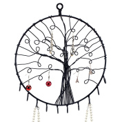 Wall Hanging Round Metal Tree Silhouette Design Jewellery Holder, Earrings and Necklace Hooks, Black
