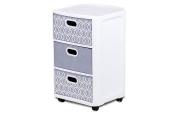 Home Logic Paisley Storage 3 Drawer Fabric Cart, Large, White, Grey