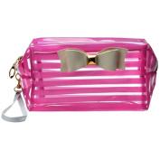 XUANOU Waterproof Cosmetic Bag Stripes Translucent Storage Bag