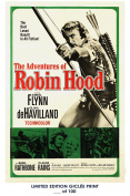 RARE POSTER thick THE ADVENTURES OF ROBIN HOOD movie 1938 cult HAMMER REPRINT #'d/100!! 12x18