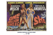 RARE POSTER thick ONE MILLION YEARS B.C./SHE movie 1966 cult HAMMER REPRINT #'d/100!! 12x18
