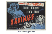 RARE POSTER thick NIGHTMARE movie 1964 cult HAMMER REPRINT #'d/100!! 12x18