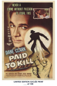 RARE POSTER thick PAID TO KILL movie 1954 cult HAMMER REPRINT #'d/100!! 12x18