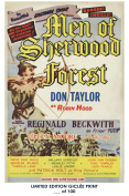 RARE POSTER thick MEN OF SHERWOOD FOREST movie 1954 cult HAMMER REPRINT #'d/100!! 12x18