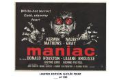 RARE POSTER thick MANIAC movie 1963 cult HAMMER REPRINT #'d/100!! 12x18