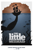 RARE POSTER thick THE LITTLE MERMAID disney movie 1989 mondo REPRINT #'d/100!! 12x18