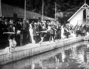 1910-15 Swimmers at Start 400 Metre Race, Hamburg Vintage Photograph 22cm x 28cm