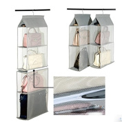 Lecent@ Homewares Hanging Handbag Organiser Hanging Purse Organiser 4 Pocket Purse Racks Closet Storage & Organisers System