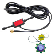 HQRP Antenna 433MHz 2dbi GSM SMA male plug tentacle 3M RG174 cable w/ Universal CMMB Patch for Digital Cellular Alarm Communicator / Mobile Phone / Car GSM Phone + HQRP UV Metre