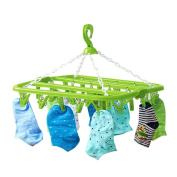 Drasawee Foldable Anti Slip 32 Clips Underwear Towels Socks Laundry Clothes Hanger Green
