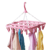 Drasawee Foldable Anti Slip 32 Clips Underwear Towels Socks Laundry Clothes Hanger Pink