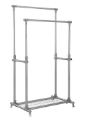 Finnhomy Double Rails Adjustable Rolling Garment Rack With Storage Wire Net at Bottom, Industrial Casters (2 w/ brakes),Thicken Steel Tube