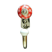 Ceramic Wall Hook with White Flowers on a Red Background