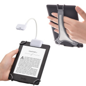 TFY Clip-on LED Reading Light with 2 Levels of Lumen Intensity for Kindle, other e-Readers, Tablets, Books Plus Bonus Hand Strap Holder for 15cm Kindle e-readers - White