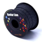 EMMAKITES 100% Braided Kevlar String Black Utility Cord for Outdoor Activities, Tactical, Survival and other General Purpose