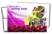 12 BEAUTY AND THE BEAST Birthday Invitation Cards (12 White Envelops Included) #1