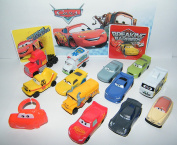 Disney Cars Movie Deluxe Party Favours Goody Bag Fillers Set of 14 with 12 Plastic Cars, a Sticker Sheet, ToyRing Featuring McQueen, Jackson Storm, ARVY and More!