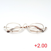 Magnifying Make Up Makeup Glasses Flip Down Lenses Gold Metal Frame +1.5-4.0 VOSO