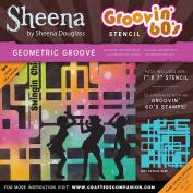 Sheena Douglass Grooving 60s Stencil 18cm x 18cm -Geometric Groove