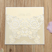 50-Packed Elegant Laser Cut Hollow Butterly Invitations Cards Kit Printable for Wedding, Bridal Shower with Envelopes and Seal Sticker