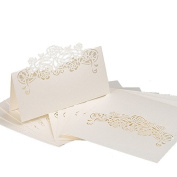 60pcs Paper Wedding Table Name Place Cards Personalised Reception Decoration with White Lace Pattern Cardstock for Wedding Favours,Party
