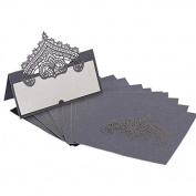 60pcs Wedding Table Place Cards Personalised Reception Decoration with Silver-Grey Lace Crown Pattern Cardstock for Wedding Favours,Party