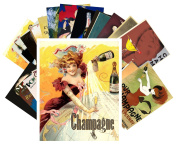 Postcard Pack 24pcs Champagne Art Deco Poster Ads Vintage Alcohol Wine Adverts