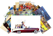 Postcard Pack 24pcs Classic Cars Vintage Posters Advert American Fifties Chevy Ford Dodge