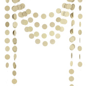 Ling's moment Paper Circle Garland ( 6.4cm Dots, 2.7m, Pack of 4 ), Circle Hanging Decorations for Wedding, Baby Shower, Festival Items & Party Props - Champagne Gold Glitter