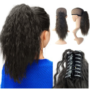 Beauty Angelbella 15'' Claw Ponytail Clip in Hair Extensions Long Yaki Curly Synthetic Hairpiece 80g with Jaw Clip
